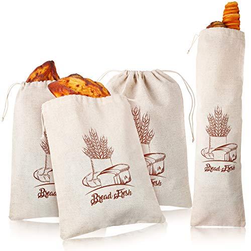 4 Piezas Bolsas de Pan de Lino Reutilizable Bolsas de Almacenamiento de Pan con Cordón Bolsas de Supermercado de Impresión, 12 x 16 Pulgadas y 27 x 8 Pulgadas