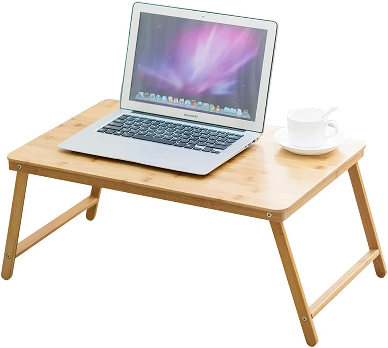 Wooden Small Folding Tables Computer Notebook Lazy Desk Foldable Bedside Table Dormitory Bedroom (Size   60x27x39cm) (color   C)