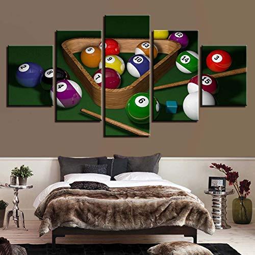 POLLKK5 Wandbild auf Leinwand, Motiv Billiard auf Leinwand, modulare Bilder für Wohnzimmer