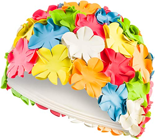 Aqua Speed Badehaube Blüten   Badekappe mit Blumen   Retro Schwimmkappe   Bunte Bademütze Damen   Schwimmkappe Lange Haare   Long Hair Swim Cap Flowers   Latex   Multicolour   Bloom