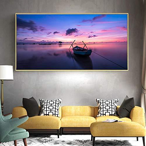 SHENLANYU Arte de Pared Lienzo Bote de remos en el Lago al Amanecer Impresión en Lienzo Carteles e Impresiones Sala de Estar Moderna Decoración para el hogar 23.6'x 39.4' (60x100cm) Sin Marco