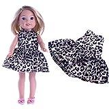 WENTS Vestido Estampado de Lunares de Leopardo de muñecas de niña con Lazo Negro Zapatos de Nudos Co...