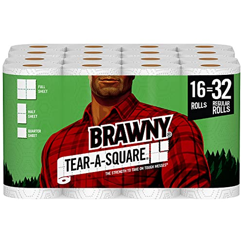 Brawny Tear-A-Square Paper Towels, 16 Double Rolls...