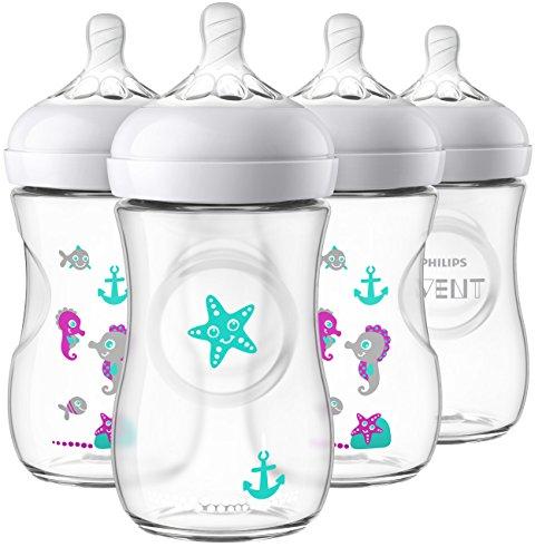 Philips Avent Natürliche Babyflasche, transparent, Seepferdchen-Design, 255 ml, 4 Stück, SCF659/47