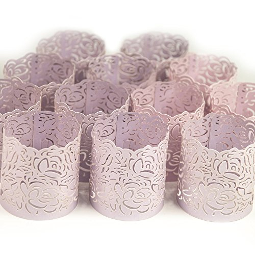 Frux Home and Yard Votive Candle Holders - Flameless Tea Light Votive Wraps - 48 Blush Colored Laser Cut Decorative Wraps Flickering LED Battery Tealight Candles (not Included)