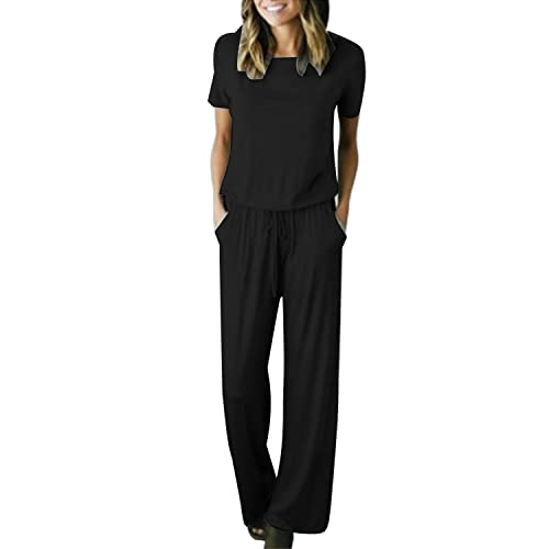 2c32bbe72e9 Auxo Womens Jumper Wide Legs Short Sleeve One Piece Jumpsuit Romper with  Pockets