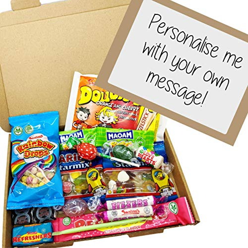 Retro Sweet Gift Box - A5 Letter Box free personalised label by Eventabox *SWEETS VARY*