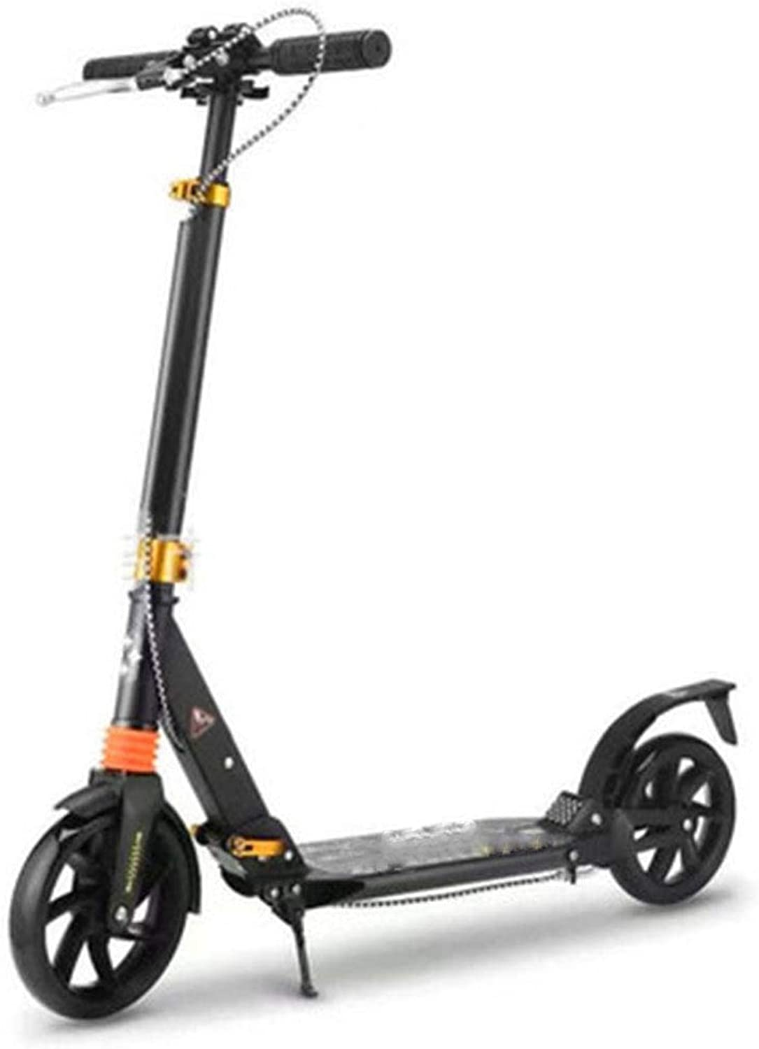 FDSjd Adult Scooter Hand Brake Double Shock Absorption Two-wheel Folding Aluminum Alloy Two-wheeled Scooter ( color   Black )