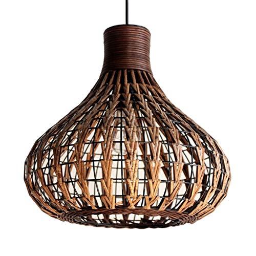 LHHH Chinas Pequeñas linternas Lámpara de bambú Natural DIY DIY Mimbre Lámpara de ratán Sombras de Tejido Colgando D13.8Inch Sala de Estar Restaurante Dormitorio Casa de té Soltera