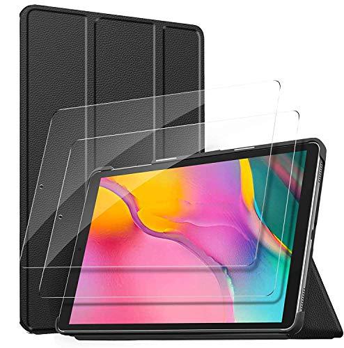ELTD für Samsung Galaxy Tab A 10.1 2019 Panzerglas[2 Stücke] + für Samsung Galaxy Tab A 10.1 2019 Hülle, für Samsung Galaxy Tab A 2019 T510/T515 10.1 Panzerglas mit Hülle, Schwarz