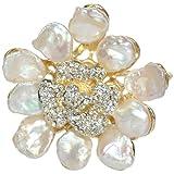 Dahlia Abstract Flower Petal Cultured Pearls Gold-Tone Crystal Pistil Brooch Pin Pendant (9-11mm)