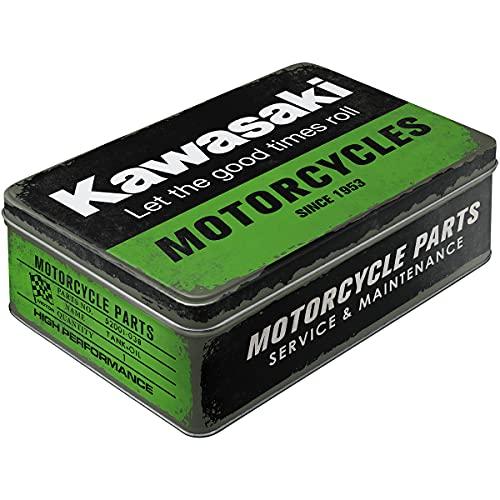 Nostalgic-Art Retro Vorratsdose Flach Kawasaki – Parts – Idea de Regalo para Motociclistas, Lata de Chapa con Tapa, Diseño Vintage, 2,5 l