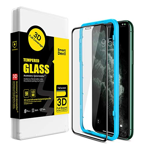 SmartDevil Screen Protector for iPhone 11 Pro, iPhone X/Xs [High Hardness] [Anti-Fingerprint] [Easy Install] 3D Full Coverage Tempered Glass Screen Protector for iPhone 11 Pro, iPhone X/Xs (5.8-Inch)
