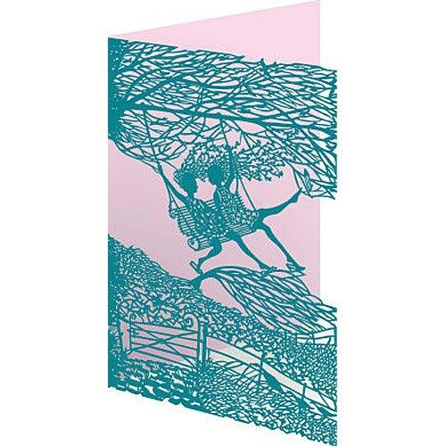 Jardín columpio tarjeta de felicitación de corte láser