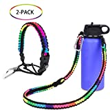 Paracord Handle Carrier Holder with Shoulder Strap for Wide Mouth Hydro Flask Water Bottles with Shoulder Strap w/Compass, Safety Ring/Carabiner Fits Any Wide Mouth Bottle Brand 12oz-64oz (Iridescent)