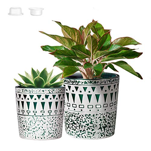 CeramicPlant Pots,GardenPlanters for Plants with Drainage Hole,Flower potsIndoor Outdoor,4.9in+5.9in,PARTNERO NordicModernWhite & Green,Pack of 2, (Plant Not Included)