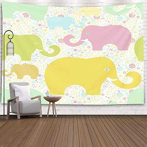 Wall Hanging Tapestry,Home Art Decor Pattern Colorful Elephants Floral Meadow with for Living Room Dorm Background Tapestries,Red Peach