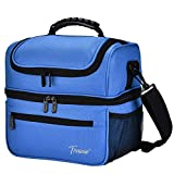 Extra Large Lunch Bag - 13L/ 22 Can, Insulated & Leakproof Adult Reusable Meal Prep Bento Box Cooler Tote for Men & Women with Dual Compartment, Canvas Blue