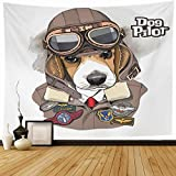 Tapestry Wall Hanging Aviator Brown Dog Beagle Helmet Leather Jacket Fly Wildlife Funny Goggles Hat Air Old Home Decor Tapestries Decorative Bedroom Living Room Dorm