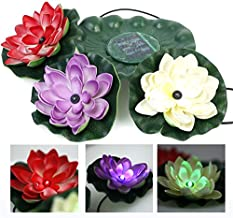 WONFAST Waterproof Color-Changing Solar Floating LED Lotus Light Night Lamp for Pond/Garden/House Lights for Pool/Party Fancy Ideal Novel Creative Gift (3led)
