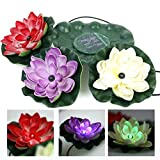 WONFAST Waterproof Colorful Solar Floating LED Lotus Light Night Lamp for Pond/Garden/House Lights for Pool/Party Fancy Ideal Novel Creative Gift (3led)