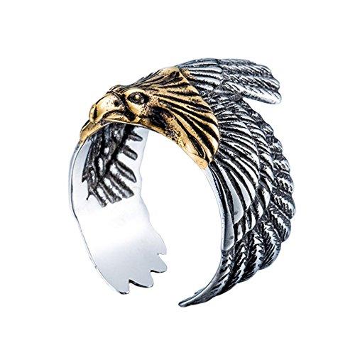 PAMTIER Hombres Acero Inoxidable Vendimia Águila Volando Anillo Banda Halcón Animal Diseño Plata Oro Tamaño 14