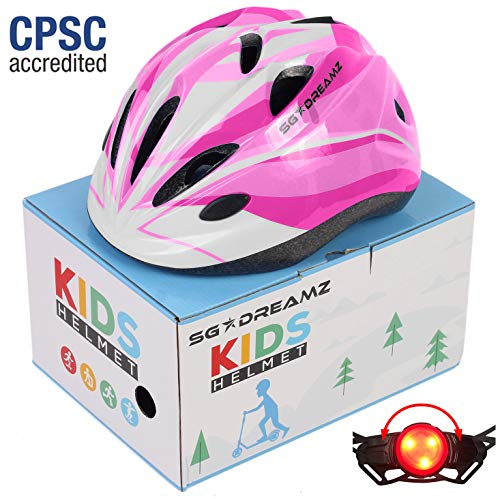 Kids Helmet – Adjustable from Toddler to Youth Size, Ages 3 to 7 - Comes in Great Looking Package Perfect for Gift - Multi-Sports with LED Safety Light - CSPC Certified for Safety (H12+LED+Box+Pink)