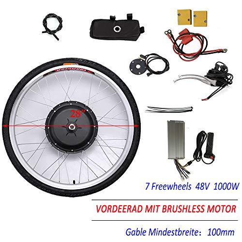 OUKANING - Kit de conversión eléctrica para Rueda Delantera de Bicicleta eléctrica, 28 Pulgadas, 48 V, 1000 W