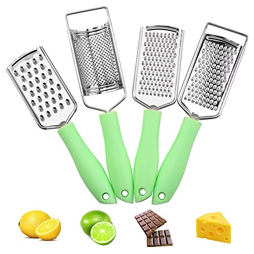 AllesCosy Graters Cheese Grater Kitchen Set of 4 Lemon Zester Stainless Steel High Performance Silicone Grip Ergonomic Design for Vegetables Fruits Chocolate