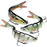GOTOUR Bass Fishing Lures, Slow Sinking Swimming Lure, Lifelike Multi Jointed Swimbait, Hard Bait for Trout Perch Pike, Freshwater Saltwater,Fishing Gifts for Men