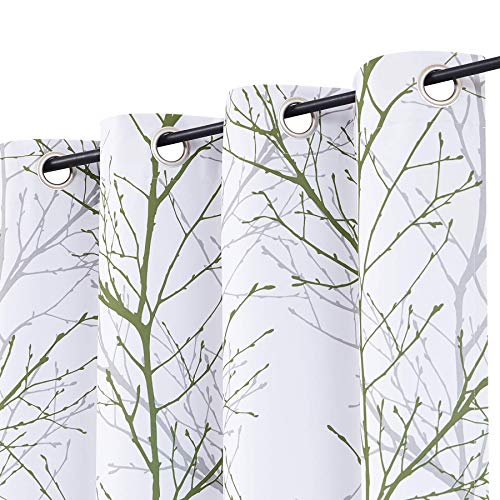 """Tree Half-Blackout Curtains with Grey Linen for Bedroom 84"""" White Green Grey Branch Print Window Curtains Forest Design Thermal Insulated Curtain Panels Living Room Nursery Kids Room Dorm 50""""w 2pcs"""