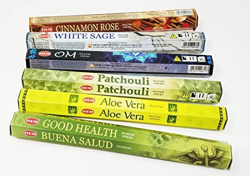 JRose Collections Hem Incense Sticks Combo with SE Bookmark- White Sage, Aloe Vera, Cinnamon Rose, Patchouli, Good Health, OM (H24)