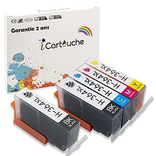 iCartouche Cartucho de Tinta Compatible con HP 364XL Deskjet 3070 3520 Officejet 4610 4620 Photosmart 5510 5520 6510 6520 7510 7520 C3640 C5300 C5380 C5390 C6300 C6340 C6350 C6380 (2BK 1C 1M 1Y)