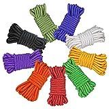 Fodlon Cuerda de paracaídas multifunción, 9 cuerdas de paracaídas de 10 pies para tienda de campaña, cuerda de supervivencia al aire libre, cuerdas de escalada para bricolaje tejidas a mano coloridas
