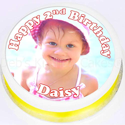 Your Own Photo + Message Personalised Cake Topper - Edible Wafer 7.5' / 19cm Round Pre-Cut