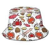 AOOEDM Cangrejo Sepia Camarón Lindo Sombrero de Cubo con Estampado Unisex Sombreros de Pescador Sombrero de Pesca Gorra Plegable Reversible de Verano...