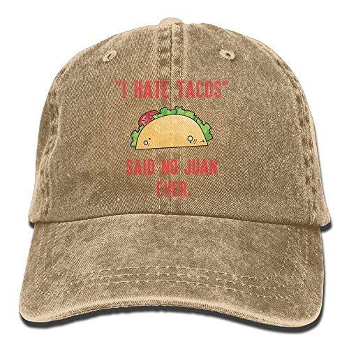 lijied DI Hate Tacos Said No Juan Ever Adults Adjustable Cowboy Cap Denim Hat for Outdoor