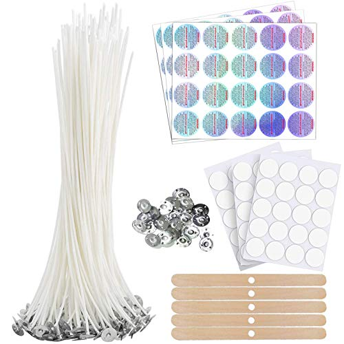 """Bulk Cotton Candle Wick 8"""" Pre-Waxed 80 Pcs with 60Pcs Candle Wick Stickers, 5Pcs Candle Wick Centering Device, 60PCS Candle Warning Labels and 20PCS Metal Tabs for Candle Making"""