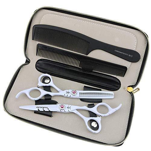 unknow Friseurschere Set Schneideschere für Friseure 6 Zoll weiße Haarschere verstellbare rosa Schraube Friseursalonschere (Schneideschere)
