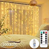 Cortina de luces, AGM 8 Modos Cadena de Luces, 3x3m 300LED luces de Navidad Blanco Cálido con Decoración de Concha, Conexión USB para Fiesta, Bodas, Navidad …