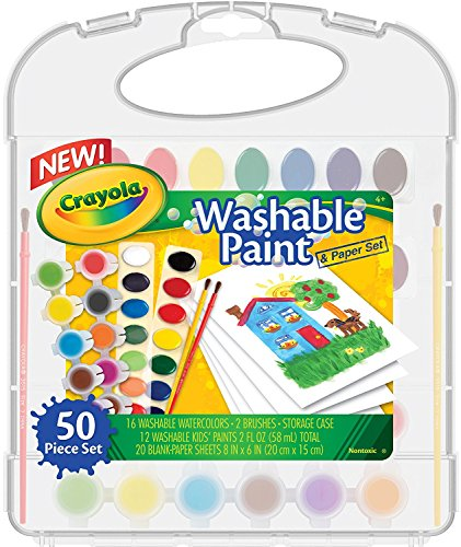 Crayola Washable Paint Set, Assorted Paints and Paper, 50 Pieces