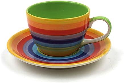 Preisvergleich für Windhorse Rainbow Keramik gestreift kaffee/Tee Tasse & Untertasse Set–Tasse 200ml 6cm hoch 8½ cm Ø–Untertasse 14½ cm Durchmesser–handbemalt