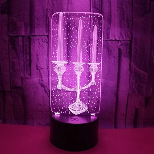 Nachtlicht 3D Led Dekorative Beleuchtung Kerze Kerzenhalter Geformt Multicolor Schlafzimmer Nachtlicht Festival Freunde Geschenke Tischlampe