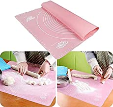 House of Quirk Extra Large Silicone Baking Mat for Pastry Rolling with Measurements Pastry Rolling Mat, Reusable Non-Stick (Pink)