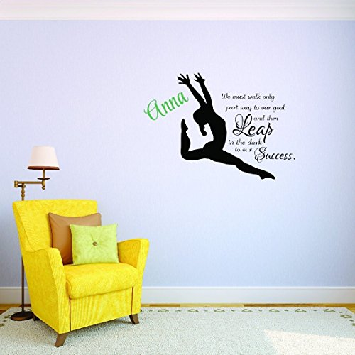 Adhesivo de vinilo para pared personalizable con el nombre de la gimnasia'We must walk only part way to our goal then leap in the dark to our Success Teen Bedroom Kids' de 20 pulgadas x 40 pulgadas