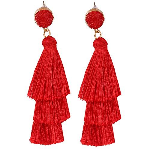 ZHDXW Pendientes de tuerca para mujer, pendientes de dama, pendientes de moda, estilo retro, con borla, E0847, color rojo
