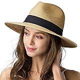 Best Fedora Hats - Womens Wide Brim Straw Panama Hat Fedora Summer Review