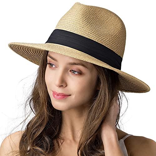 FURTALK Sun Hats for Women Wide Brim UV UPF 50+ Panama Fedora Foldable...