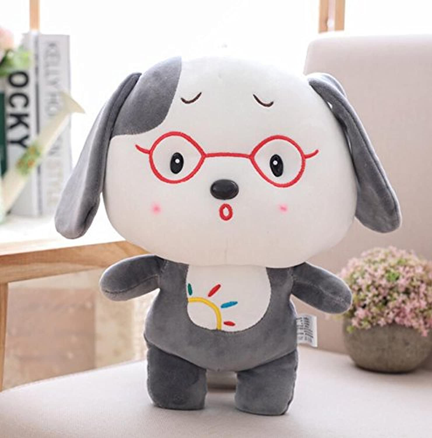 Baby Novelty Toy Glasses Dog 50cm Plush Dog Dolls Stuffed Animal Puppy Baby Girl Toys(Grey)