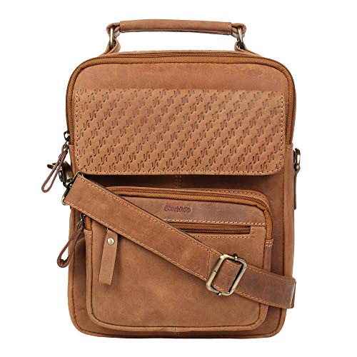 STARHIDE Mens Womens Distressed Hunter Cuero auténtico Travel Messenger Bag para iPad Tablet 585 (Marrón)